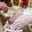 Wedding of Cultural Thailand on during give holy water that pare — Stock Photo #53286533