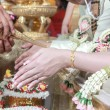 Wedding of Cultural Thailand on during give holy water that pare — Stock Photo #53286567