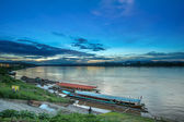 Tradition wood ship stop in small Port  Mekong River ,Chiang Kha — Stock Photo