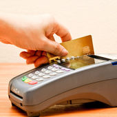 Payment machine and Credit card — Stock Photo