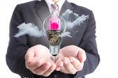 Businessman cover earning money bulb piggy bank  — Foto Stock