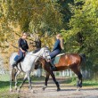 Girls  riding a horse — Stock Photo #67365983