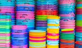 Colorful recycled plastic buckets. — Stock Photo