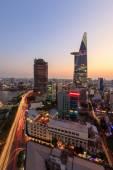 Aerial view Saigon Riverside at evening - night — Stock Photo