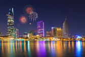 Ho Chi Minh Riverside view colorful night with fireworks — Stockfoto