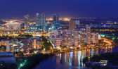 Phu My Hung Distric 7, Nam Sai Gon, Ho Chi Minh city night view with many new buildings aross the riverbank . Ho Chi Minh city is the biggest city in Vietnam. — Stock Photo