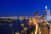 Aerial view of Ho Chi Minh city riverside at night. — Stock Photo