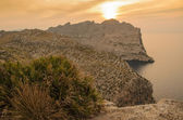 Beautiful sunset at Mallorca island, Cap de Formentor cliff view — Stockfoto
