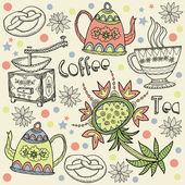 コーヒー、紅茶、背景 — ストックベクタ