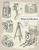 Vintage set of old cameras — 图库矢量图片