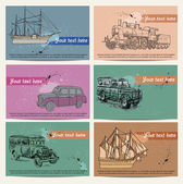 Cards with vintage  vehicles — Stock Vector