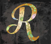 Decorative alphabet. letter R — Stock Vector