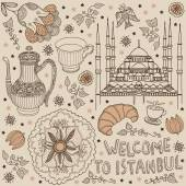 Welcome to Istanbul postcard — Stock Vector