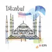 Turkey hand drawing postcard — Stock Vector