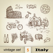 Italy traditional icons set. — Stock Vector #80364646