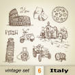 Italy traditional icons set — Stock Vector #80364730