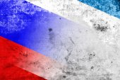 Autonomous Republic of Crimea and Russia Flag with a vintage and old look — Stock Photo