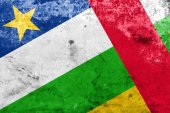 Central African Republic Flag with a vintage and old look — Stock Photo