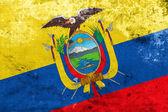 Bandera de ecuador con un antiguo y viejo mira — Foto de Stock