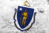 Massachusetts State Flag with a vintage and old look — Stock Photo