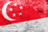 Singapore Flag with a vintage and old look — Foto Stock
