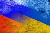 Ukraine and Russia Flag with a vintage and old look — Foto Stock
