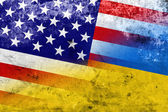 Ukraine and USA Flag with a vintage and old look — Foto Stock