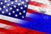 USA and Russia Flag with a vintage and old look — Stock Photo