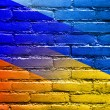 Ukraine and Russia Flag painted on brick wall — Stock Photo #52125287