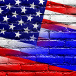USA and Russia Flag painted on brick wall — Stock Photo #52125313