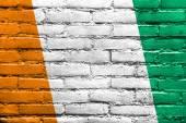 Ivory Coast Flag painted on brick wall — Stock Photo
