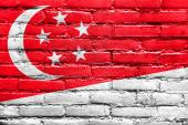 Singapore Flag painted on brick wall — Stock Photo