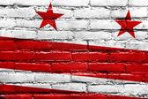 Bandera de washington dc pintado en la pared de ladrillo — Foto de Stock