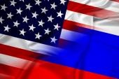 Waving USA and Russia Flag — Stock Photo