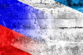 Autonomous Republic of Crimea and Russia Flag painted on grunge wall — Stock Photo
