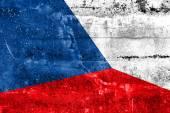 Bandeira da república checa pintado na parede do grunge — Foto Stock
