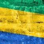 Постер, плакат: Gabon Flag painted on grunge wall