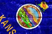Bandeira do estado de kansas pintado na parede do grunge — Foto Stock