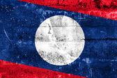 Bandeira de laos, pintada na parede do grunge — Foto Stock