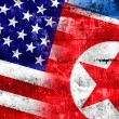 USA and North Korea Flag painted on grunge wall — Stock Photo #52964527