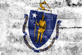 Massachusetts State Flag painted on grunge wall — Stok fotoğraf