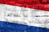 флаг нидерландов, роспись на стене гранж — Стоковое фото