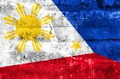 Philippines Flag painted on grunge wall — Stok fotoğraf