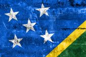 Solomon Islands Flag painted on grunge wall — Stok fotoğraf