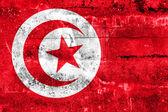 Tunisia Flag painted on grunge wall — Zdjęcie stockowe