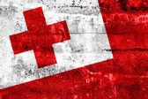 Tonga Flag painted on grunge wall — Zdjęcie stockowe