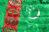 Turkmenistan Flag painted on grunge wall — Zdjęcie stockowe