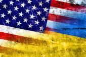 Ukraine and USA Flag painted on grunge wall — Stock Photo