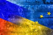Ukraine, EU and Russia Flag painted on grunge wall — Stok fotoğraf