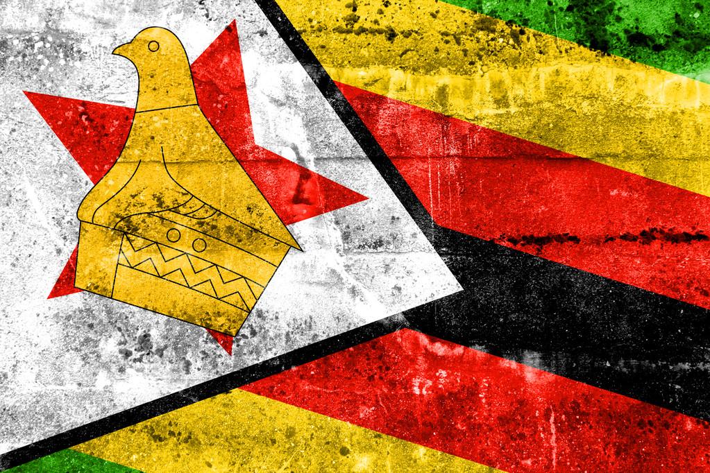 Zimbabwe Flag painted on grunge wall — Stock Photo